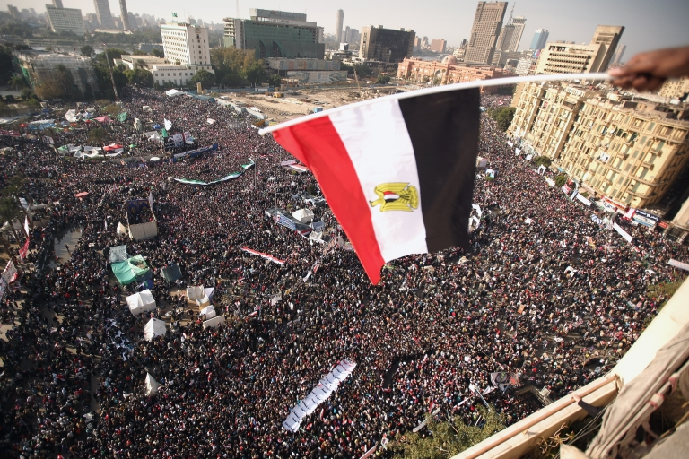 <p>A scene from Egypt's Tahrir square, as Egyptians mark the one-year anniversary of Hosni Mubarak being ousted from power on January 25, 2012 in Cairo, Egypt.</p>