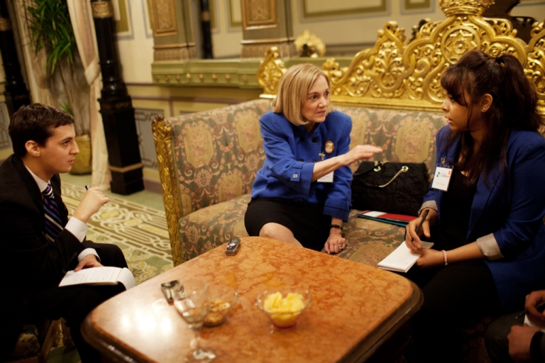 <p>U.S. Ambassador to Egypt Anne Patterson (C) is interviewed by GlobalPost / Open Hands Initiative 'Covering a Revolution' reporting fellows Matt Negrin (L) and Reem Abdellatif (R), October 2011.</p>