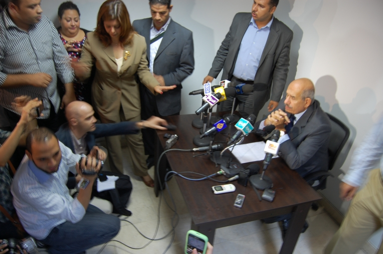 <p>Egyptian presidential candidate Mohamed ElBaradei held a press conference on October 16, one week after the death of 27 people at Maspero.</p>