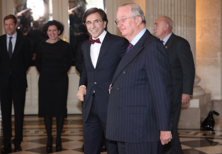 <p>King Albert II of Belgium (R) at the swearing-in ceremony for Prime Minister Elio Di Rupo (L) at Laeken Castle in Brussels, Belgium, on Dec. 6, 2011. Socialist leader Di Rupo was sworn in as the new head of the Belgian government after the country endured 541 days without an official leader.</p>