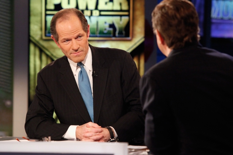 <p>Former New York Governor Eliot Spitzer, one of Horace Mann's distinguished alumni, visits FOX Business' 'Power and Money with David Asman' at FOX Studios on November 28, 2011 in New York City.</p>