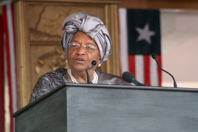 <p>Nobel peace prize winner and Liberian president, Ellen Johnson Sirleaf, defended her country's laws which criminalize homosexuality in an interview on March 19, 2012. Former British prime minister Tony Blair, who was with her, did not comment.</p>