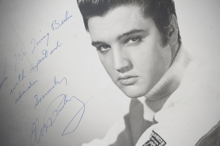 <p>An original photograph of Elvis Presley autographed and inscribed to songwriter and compose Irving Berlin on auction at Gotta Have It! store on March 21, 2012 in New York City.</p>