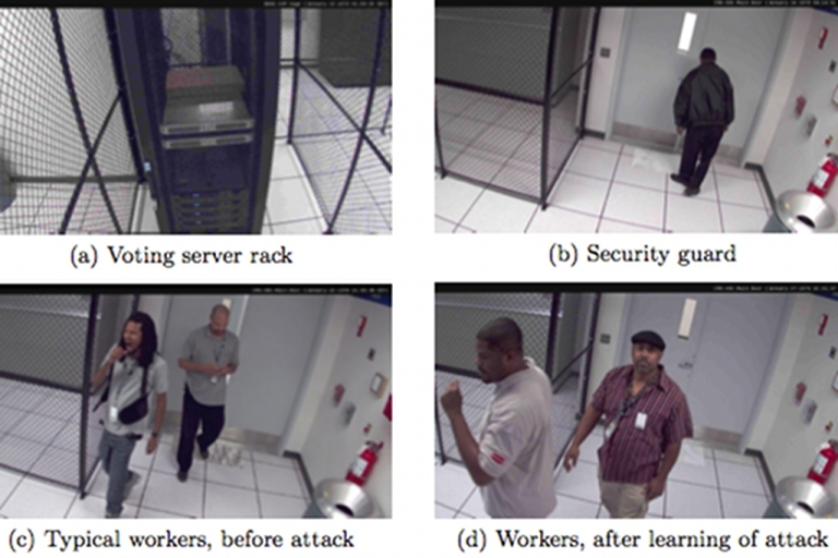 <p>A hacked video feed from surveillance cameras inside the Washington D.C. Board of Elections network operations center. A group comprised of University of Michigan computer scientists hacked the system at the board's invitation to probe its vulnerabilities before a planned election relying on e-mailed ballots.</p>