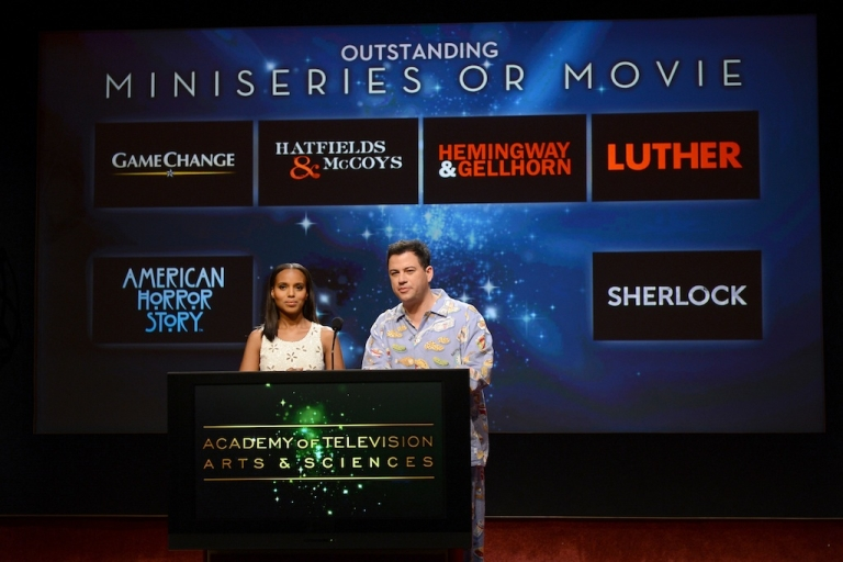 <p>Actress Kerry Washington (L) and TV host Jimmy Kimmel announce the nominees for the Outstanding Miniseries or TV Movie Award during the 64th Primetime Emmy Awards Nominations held at the Television Academy's Leonard H. Goldenson Theatre on July 19, 2012 in Los Angeles, California.</p>