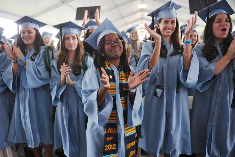 <p>Graduating students applaud as US President Barack Obama speaks during commencement ceremonies at Barnard College in New York City on May 14, 2012.</p>