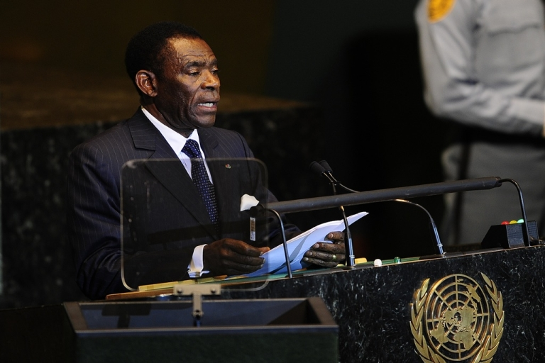 <p>The Equatorial Guinea president, Teodoro Obiang Nguema, addresses the 66th UN General Assembly at the United Nations headquarters in New York on Sept. 21, 2011.</p>