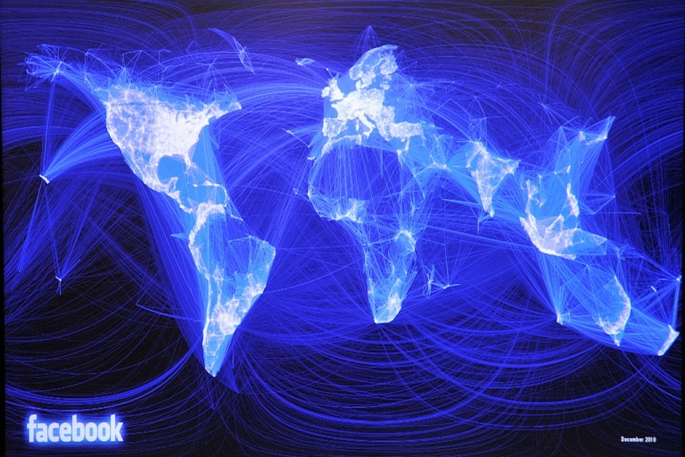 <p>This map on a page from the Facebook social network site displays friendships as lights on a deep blue background. The eastern half of the United States and Europe shine the brightest, while China, Russia and central Africa, where Facebook has little presence, are mainly dark. But data shows Facebook user growth rate is increasing in Africa.</p>