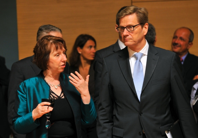 <p>High Representative of the European Union for Foreign Affairs and Security Policy Catherine Ashton speaks with German Foreign Minister Guido Westerwelle before an EU Foreign Affairs Ministers meeting on Oct. 15, 2012 in Luxembourg. EU foreign ministers are meeting to discuss new sanctions against Iran and Syria, the situation in Mali and the Sahel region of north Africa.</p>