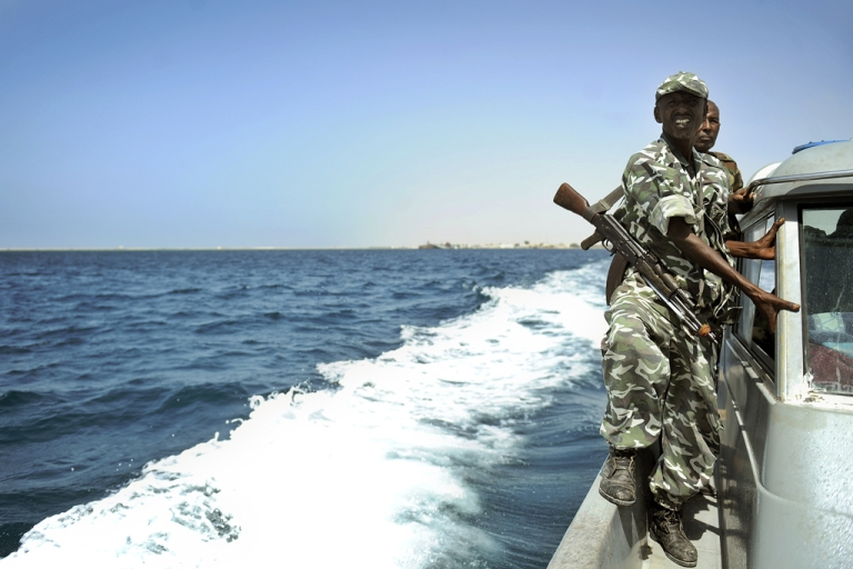 <p>Somali coastguards patrol off the coast of Somalia's breakaway Republic of Somaliland. The EU Naval Forces carried out a dawn raid, hitting attack boats and supplies on Somali pirate bases on the mainland on May 15, 2012.</p>
