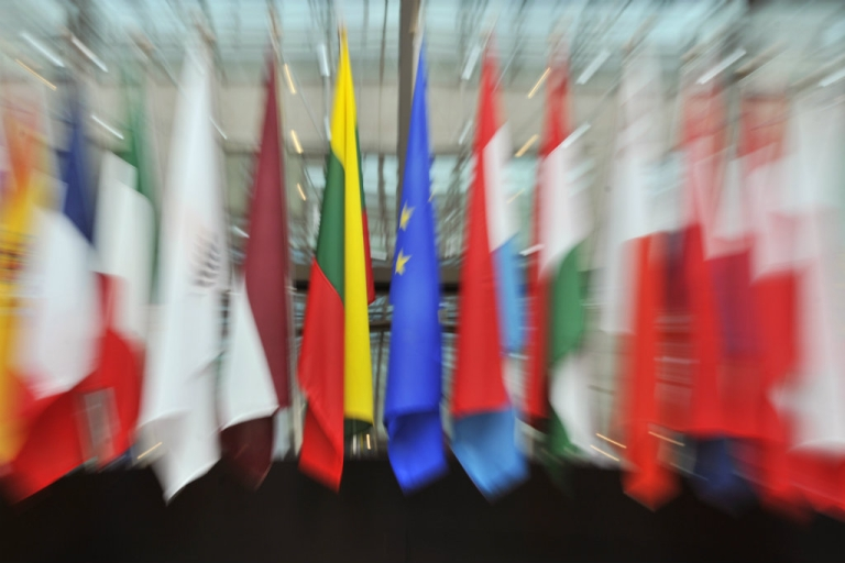 <p>The EU flags on display in the great hall of the European Union Council in Brussels.</p>
