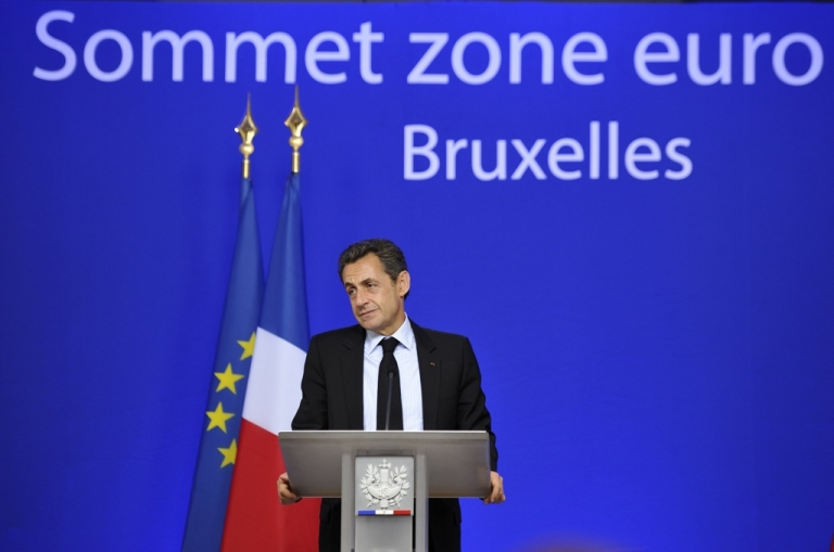 <p>French President Nicolas Sarkozy reacts during a press conference at the end of a euro zone summit on October 27, 2011. The euro zone sealed a grand deal to overcome its festering debt crisis today. But will this latest rescue plan work?</p>