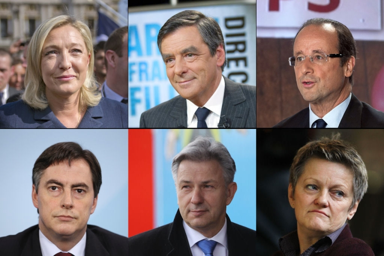 <p>Top row, left to right: France's Marine Le Pen, Francois Fillon and Francois Hollande (Photos by AFP/Getty Images). Bottom row, left to right: Germany's David McAllister, Klaus Wowereit and Renate Kuenast (Photos by Getty).</p>