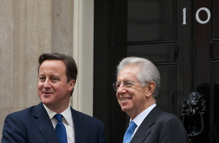 <p>British Prime Minister David Cameron and his Italian counterpart Mario Monti at Downing Street today</p>