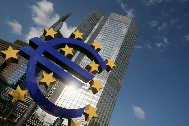 <p>FRANKFURT AM MAIN, GERMANY: A huge euro logo stands in front of the headquarters of the European Central Bank (ECB) on April 9, 2009 in Frankfurt am Main, Germany.</p>