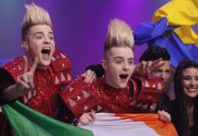 <p>John and Edward Grimes of the Irish band Jedward celebrate after qualifying for the finals of the Eurovision Song Contest on May 12, 2011 in Dusseldorf, Germany.</p>