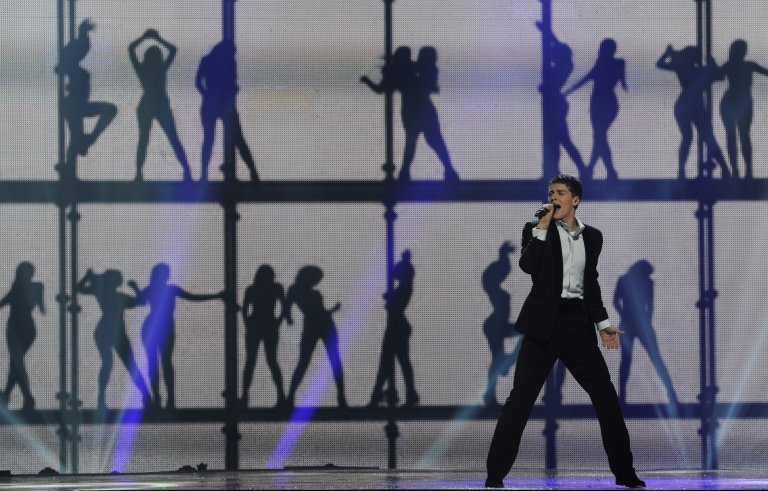 <p>Lithuania's Donny Montell performs during a dress rehearsal for the Second Semi-Final of the Eurovision 2012 song contest in the Azerbaijan's capital Baku, on May 23, 2012.</p>