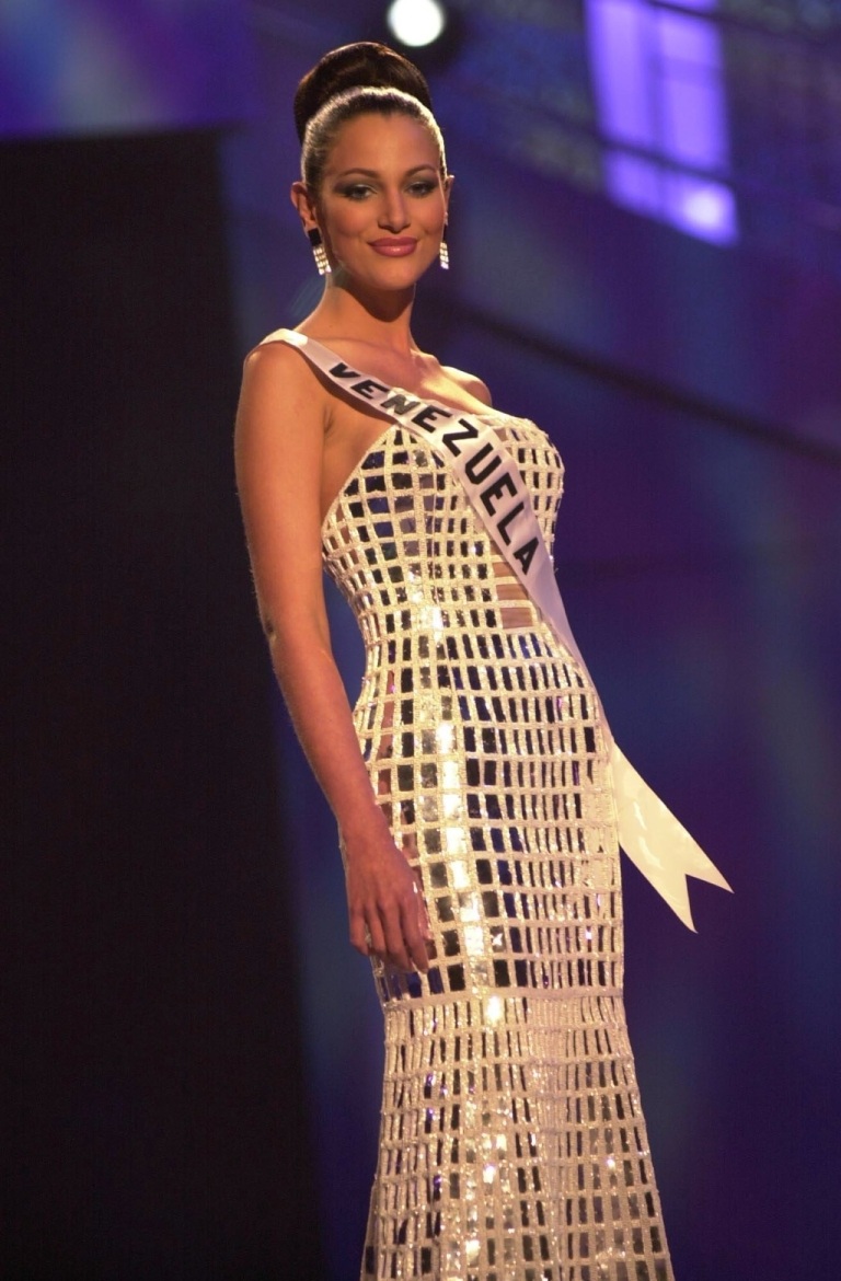 <p>Eva Ekvall poses in her evening gown during the Miss Universe 2001 Presentation Show at the Ruben Rodriguez Coliseum in Bayamon, Puerto Rico, on May 6, 2001.</p>
