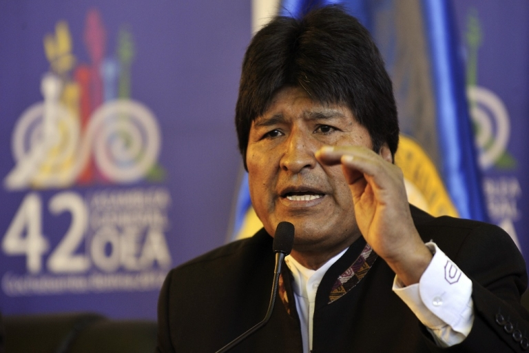 <p>Bolivian President Evo Morales speaks during a press conference at the 42nd OAS General Assembly.</p>