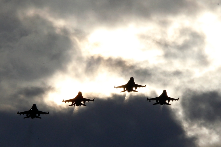 <p>F-16s fly over Darlington, South Carolina. Defense sources have told Reuters on July 10, 2013, that the US government still plans to deliver four of the fighter jets to Egypt despite the political upheaval there.</p>