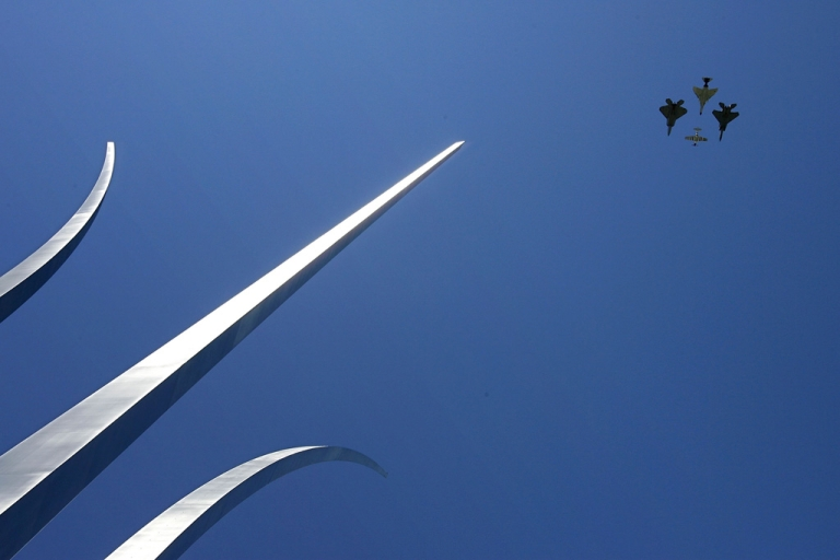 <p>U.S. Air Force planes from four generations, including an F-35 Joint Strike Fighter, an F-15 Eagle, an F-4 Phantom and a P-51 Mustang fly in formation near the Pentagon in Arlington, Va.</p>
