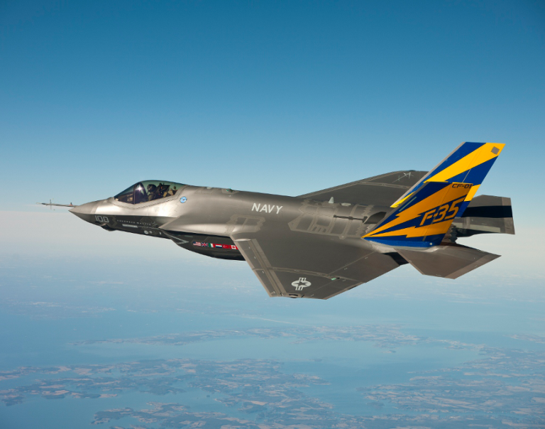 <p>An F-35c conducts a test flight Feb. 11, 2011 at a US Naval Air Station at Patuxent River, MD.</p>