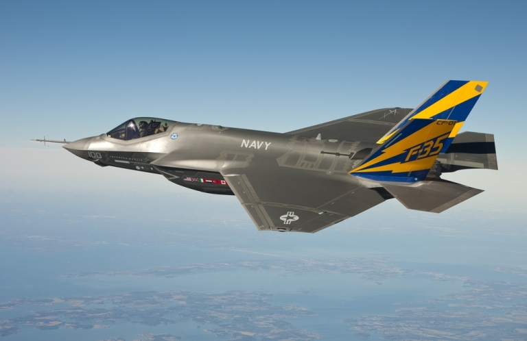 <p>The US Navy variant of the F-35 Joint Strike Fighter, the F-35C, conducts a test flight February 11, 2011 over the Chesapeake Bay.</p>
