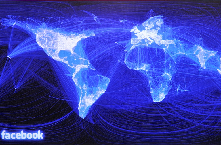 <p>This map shows the density of Facebook friendships. The dark area north east of India is China, where Facebook is banned. Meanwhile, Renren, a Chinese version of the social networking site, is raising a fortune on Wall Street.</p>