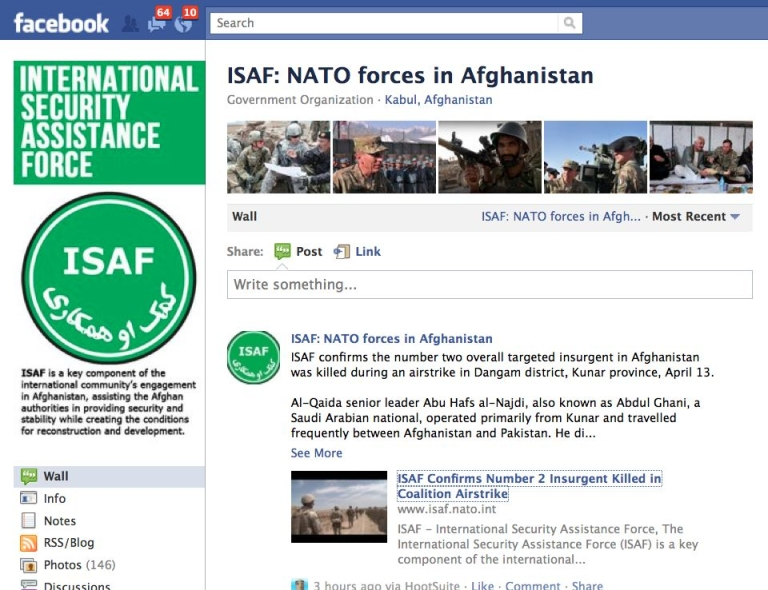 <p>A screen shot of the ISAF (NATO) Facebook page announcing the killing of senior Al Qaeda leader Abu Hafs al-Najdi, also known as Abdul Ghani, killed by NATO forces in Kunar Province, Afghanistan.</p>