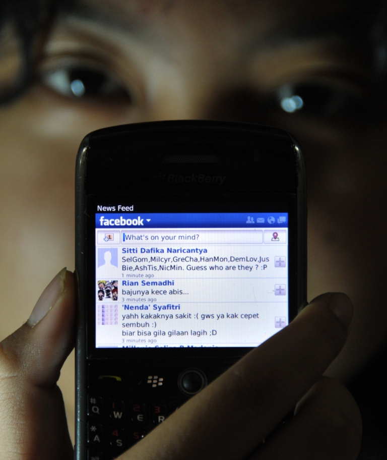 <p>A girl shows her Facebook 'wall' on her mobile device in Jakarta on February 2, 2012.</p>