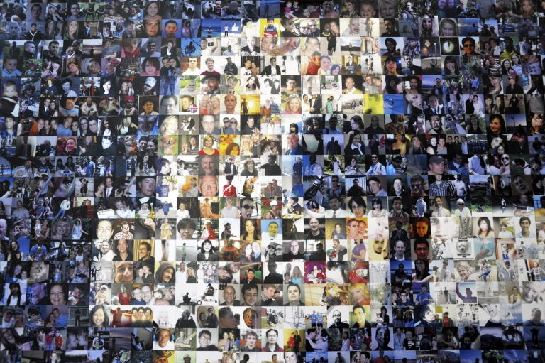 <p>A collage of profile pictures makes up a wall in the break room at the new Facebook Data Center on April 19, 2012 in Forest City, North Carolina.</p>