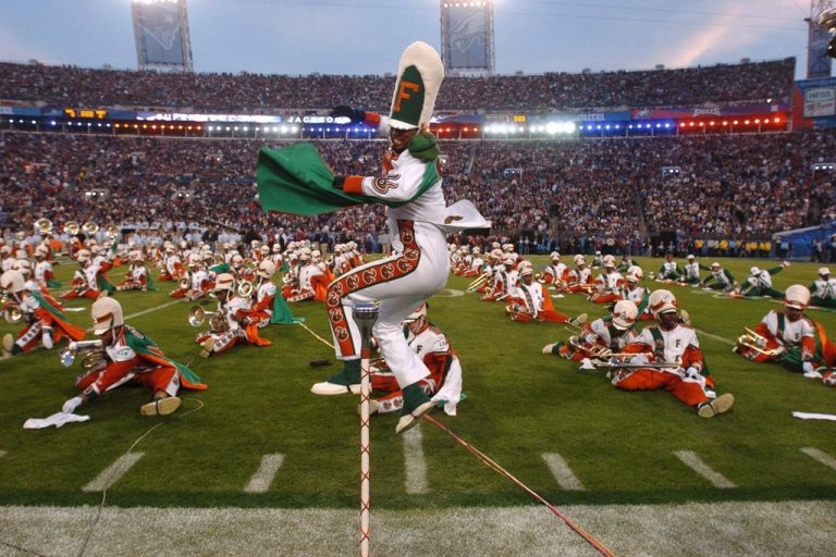 <p>Florida A&amp;M University's marching band performs during the Super Bowl pre-game show on Feb. 6, 2005, in Jacksonville.</p>