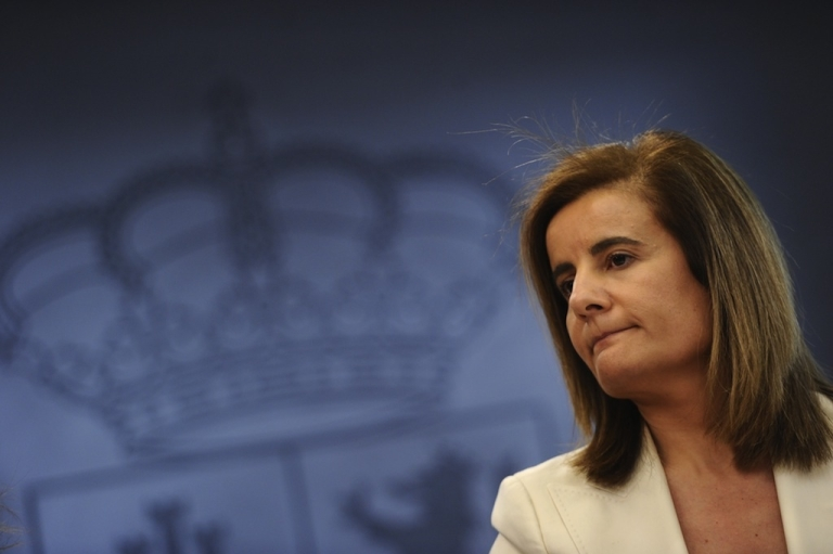 <p>Spain's Minister of Employment and Social security Maria Fatima Banez gives a press conference after a cabinet meeting at the Moncloa palace in Madrid on February 10, 2012. Spain's right-leaning government slashed employees' maximum severance pay in a sweeping labour reform unveiled to confront a near 23-percent unemployment rate.</p>