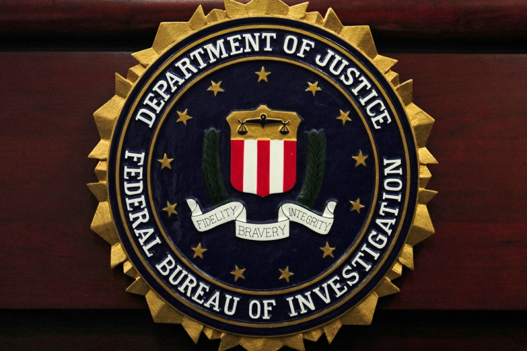 <p>Sign at the headquarters of the FBI.</p>