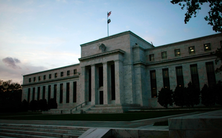 <p>The US Federal Reserve Building in Washington, DC, on Oct. 28, 2008.</p>