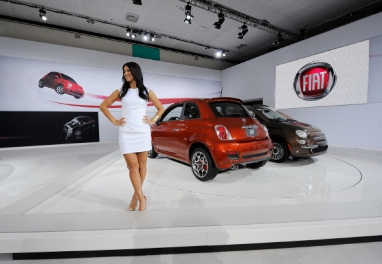 <p>Fiat, the automobile of choice for Italian car sex. Here, Fiat 500 cars are shown on display at the Los Angeles Auto Show on November 17, 2011 in Los Angeles, California.</p>