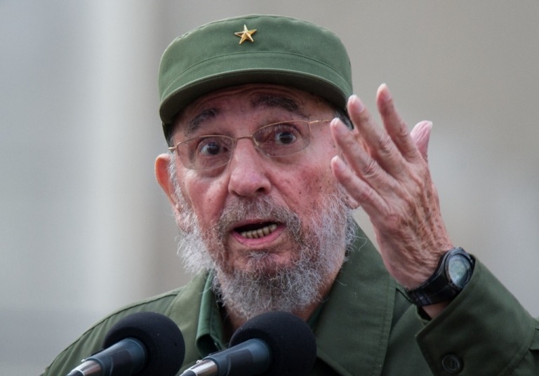 <p>He's still here: Fidel Castro makes a point.</p>