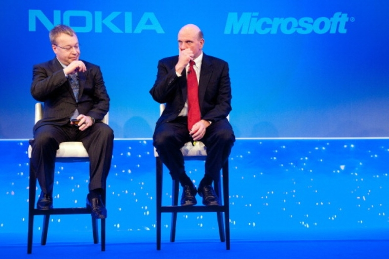 <p>Nokia Chief Executive Stephen Elop (L) and Microsoft CEO Steve Ballmer pictured during the Nokia Strategy and Financial Briefing at the Intercontinental Hotel in central London, on February 11, 2011. Nokia, the world's largest mobile phone maker, said Friday it was joining forces with US giant Microsoft in a major corporate strategy shake-up that disappointed investors.</p>