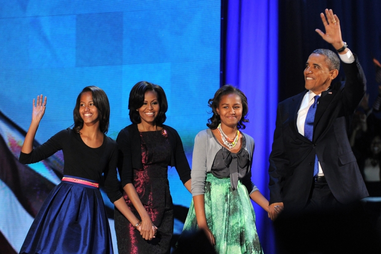 <p>US President Barack Obama said he told his daughters if they ever got a tattoo, he and Michelle would get one too. The president, accompanied by daughter Malia, First Lady Michelle and daughter Sasha in Chicago, Illinois on election night last November.</p>