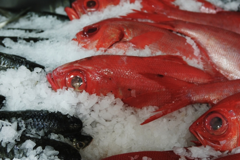 <p>Fresh fish is displayed for sale at Auckland's Fish Market in New Zealand.</p>