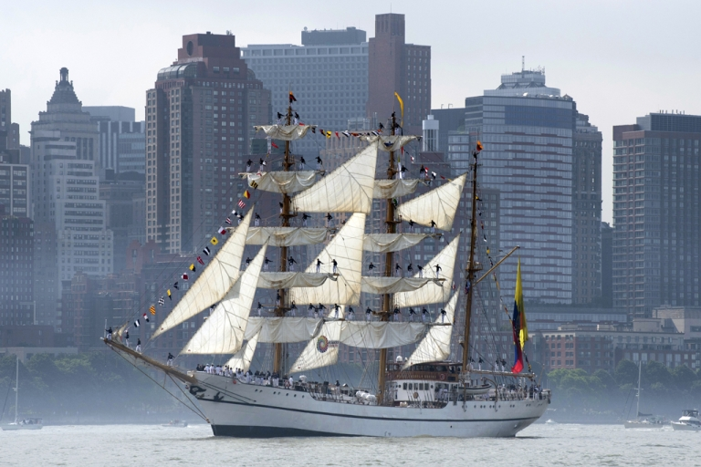 <p>The tall ship from Ecuador Guayas passes Manhattan on May 23, 2012 in New York. The tall ship is participating in Fleet Week events in New York.</p>