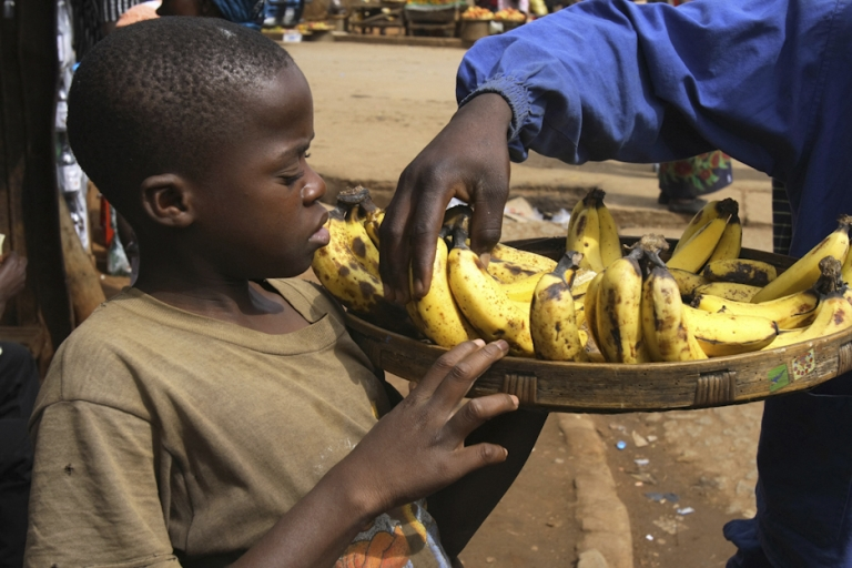 <p>A boy sells bananas in Manica town near Mozambique's border with Zimbabwe. Rumors of flesh-eating bananas in Mozambique - and in particular, bananas grown in neighboring South Africa's province of KwaZulu-Natal - have caused sales of the fruit to drop.</p>