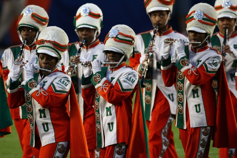 <p>The Florida A&amp;M University marching band performs at Sun Life Stadium in Miami Gardens, Fla., prior to Super Bowl XLIV on Feb. 7, 2010.</p>