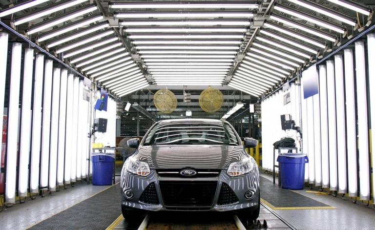 <p>A Ford Focus on the assembly line at Ford Motor Co.'s Michigan Assembly Plant December 14, 2011 in Wayne, Michigan.</p>