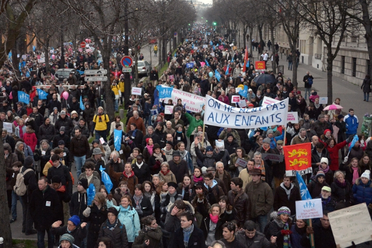 <p>People take part in a protest against same-sex marriage on Jan. 13, 2013, in Paris, France. Tens of thousands came out to protest government plans to legalize same-sex marriage and adoption rights, but French President Francois Hollande has remained steadfast in his support of the bill.</p>