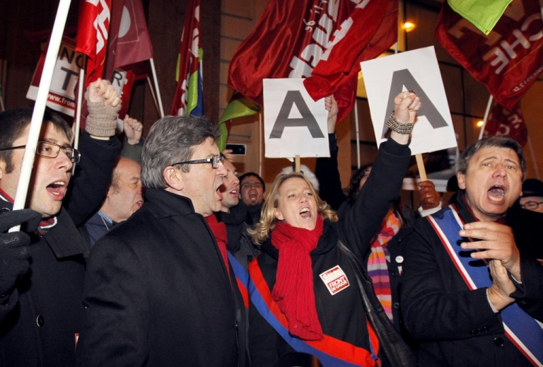 <p>French president of the Parti de Gauche and Left Front (Front de Gauche) candidate for 2012 French presidential election Jean-Luc Mélenchon (2ndL) shouts during a demonstration on January 15, 2012 in front of the Standard &amp; Poor's Paris headquarters to protest against France credit rating downgrade and the financial markets.</p>