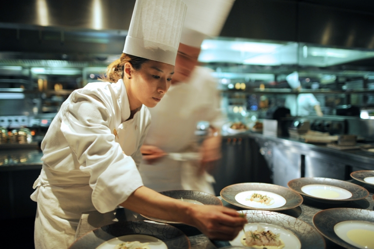 <p>Cooks are at work on December 13, 2010 in the kitchen of the Hotel Hyatt Vendome in Paris.</p>