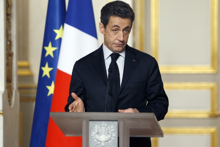 <p>French President Nicolas Sarkozy gives a speech at the end of a crisis summit with unions representatives at the Elysee Palace in Paris, on January 18, 2012 to try and boost the French economy as recession looms and nearly three million people hunt for employment.</p>