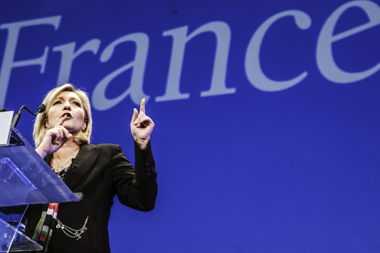 <p>Marine Le Pen, head of the far-right Front National, came third in the first round of France's presidential election with 17.9 percent of the vote.</p>