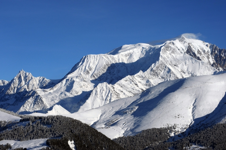 <p>The Mont Blanc massif in the French Haute-Savoie region.</p>